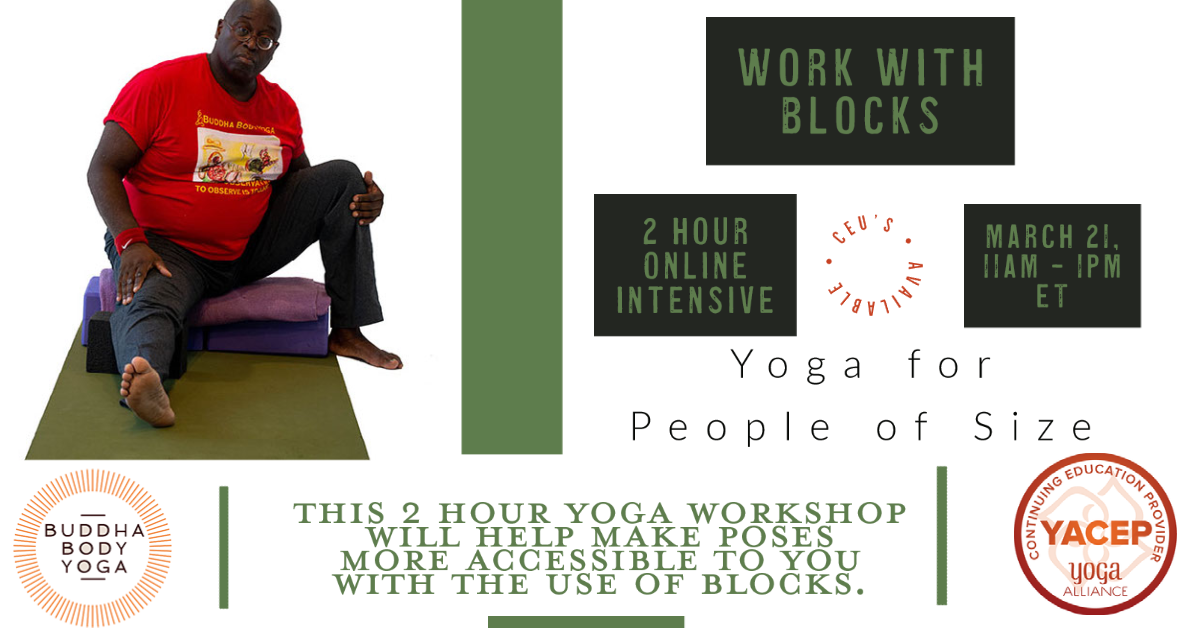 Accessible Yoga workshops using blocks poster