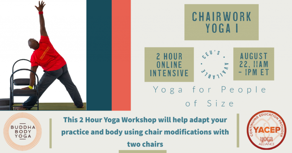 Accessible Yoga workshops using a chair poster