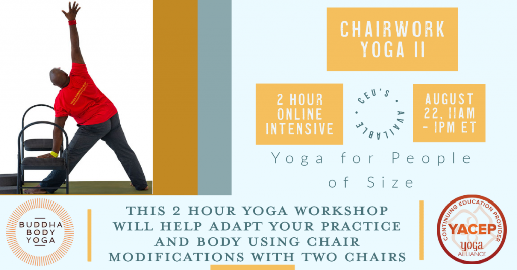 Accessible Yoga workshops using 2 chairs poster