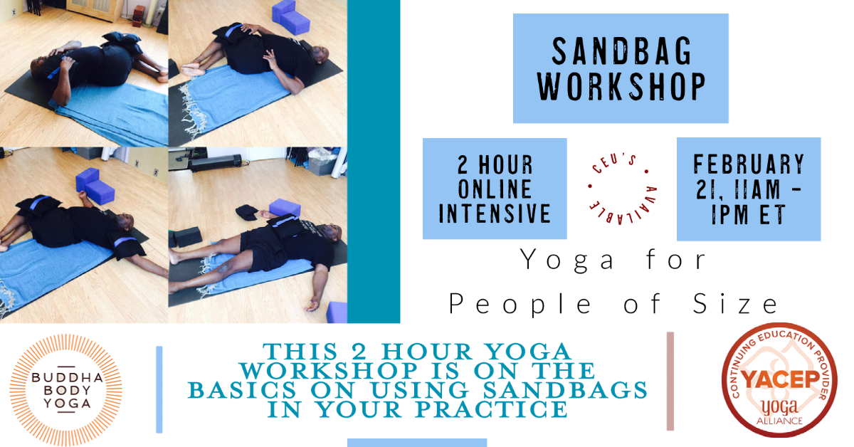 Accessible Yoga workshops using sandbags poster